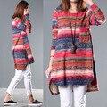 2015 новых осенью Корейский ретро свободные большой размер женщин цветные полосатый свитер с длинными рукавами футболка, ветер