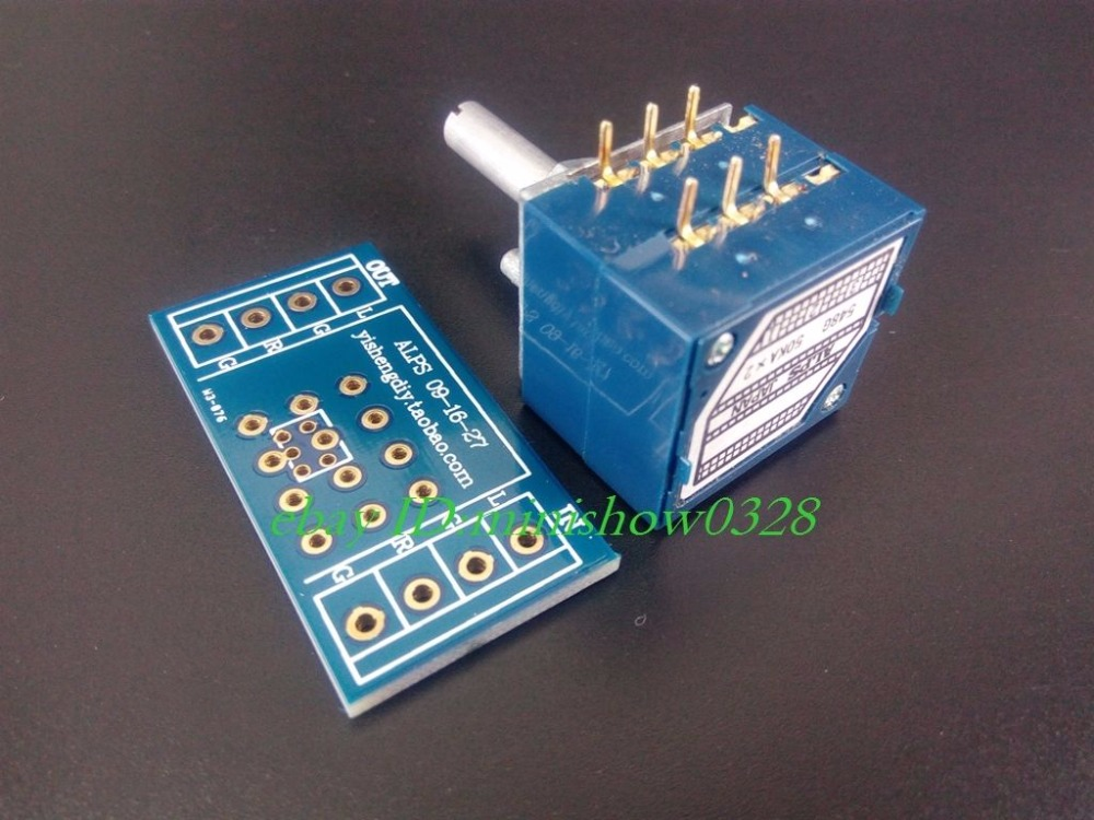 5pcs Japan ALPS Volume control 27 type Dual potentiometer 10K 50k 100K RK27 Round shaft With adapter PCB*5 1pc 10k 20k 50k 100k 250k 500k japan alps rk27 double stereo potentiometer 10 500kax2 knurled shaft rk27 rotary switch 6pin