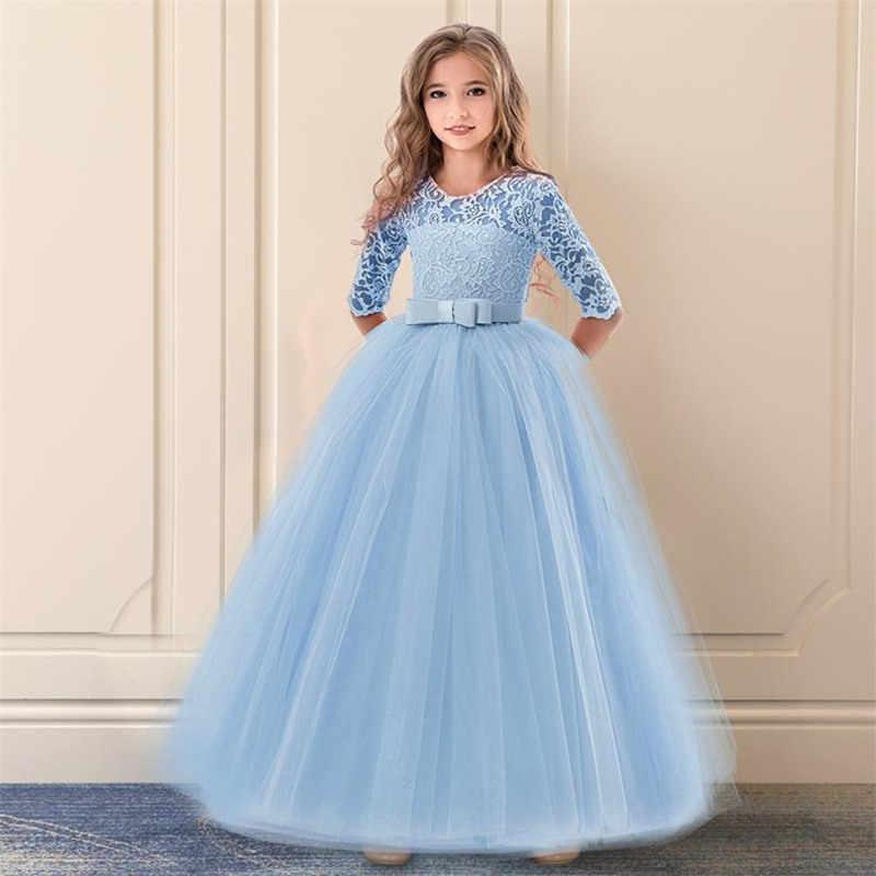 nueva estilos 4141c 9d564 Chica adolescente ropa de verano 2018 de encaje flor vestido de niña para  boda fiesta niños ropa de los niños traje de la princesa 10 12 14 años