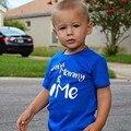 Camisetas para Meninos Miúdo Puro T-shirt Do Bebê Roupa Infantil Camiseta carta criança Roupas Meninos Azuis Tops Do Bebê T Shirts cor azul