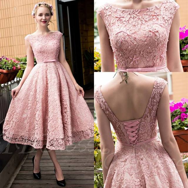 Dusty Pink Vintage Lace Tea Length Short Prom Dresses Jewel Neck Cap  Sleeves Beaded Corset Back Teens Cocktail Prom Party Dress 3fa11fed722c