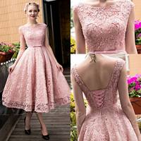 Dusty Pink Vintage Lace Tea Length Short Prom Dresses Jewel Neck Cap Sleeves Beaded Corset Back Teens Cocktail Prom Party Dress