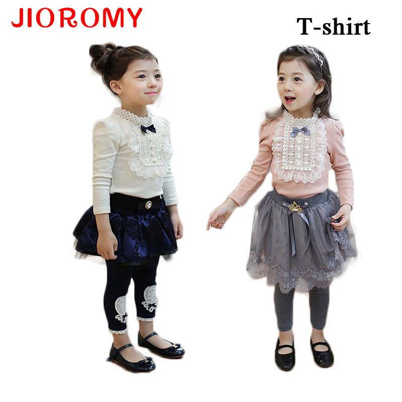 2016 Autumn Longsleeve Cotton T-shirt Girls Top Fashion Baby Kids Clothes With Lace And Bowknot Korean Style Children