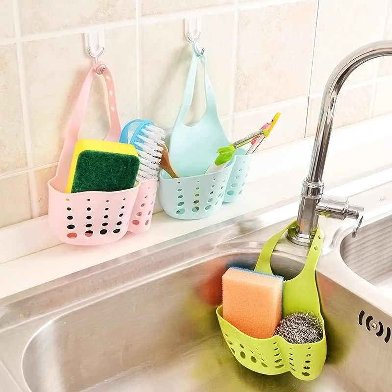 Portable Home Kitchen Bathroom Sink Sponge Hanging PVC Shelving Rack Drain Faucet Storage Pail Shelves Tools Holder P7Di