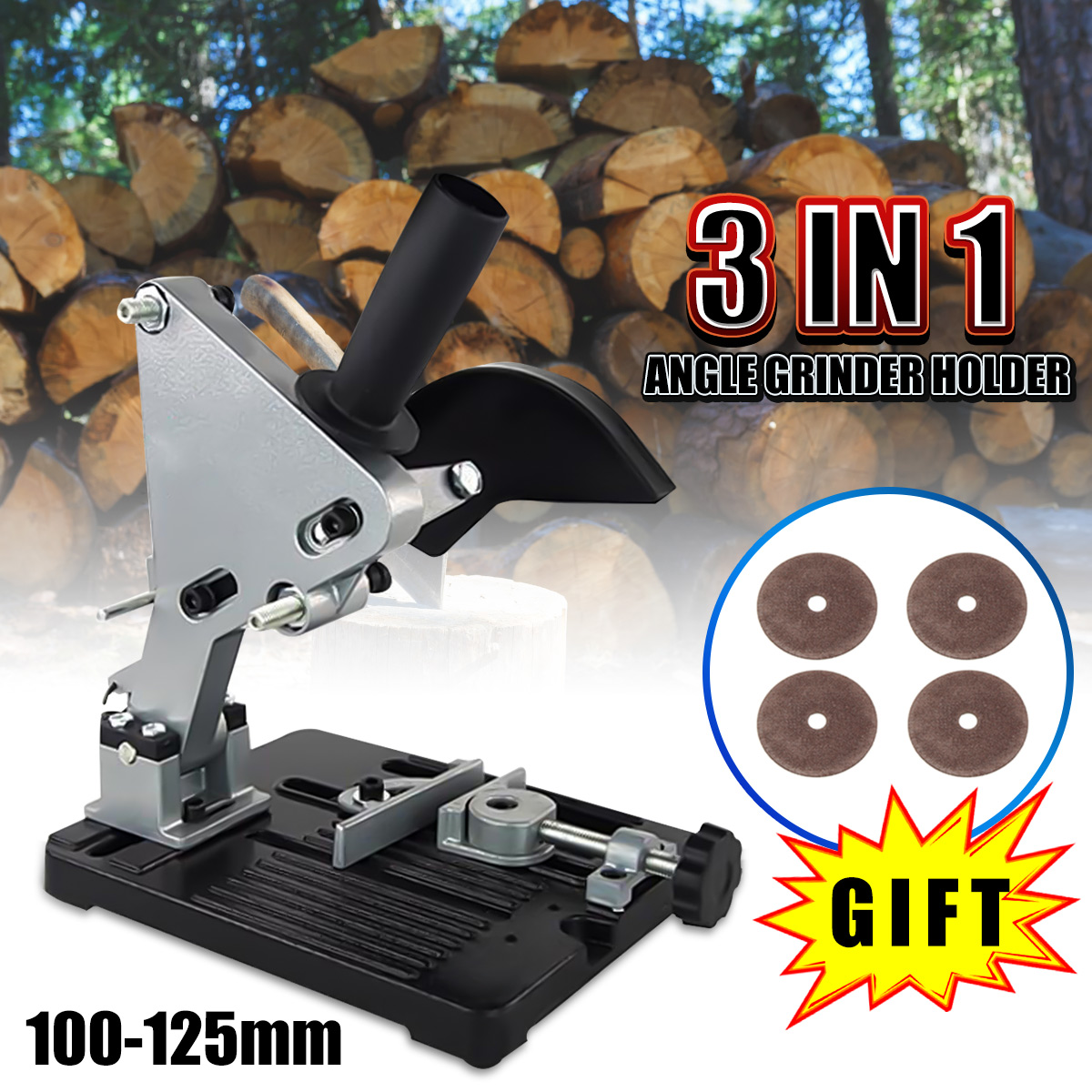 6pcs Aluminum Angle Grinder Electric Stand Angle Grinder Bracket Holder Support for 100-125 Angle Grinder with Saw Blade aluminum angle grinder bracket holder