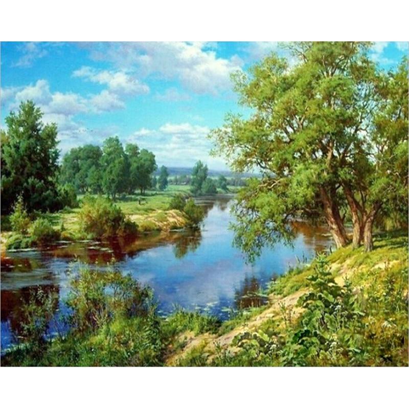 Malerei Durch Zahlen DIY Dropshipping 50x65 60x75cm Grün Panasonic Creek Landschaft Leinwand Hochzeit Dekoration Kunst bild Geschenk