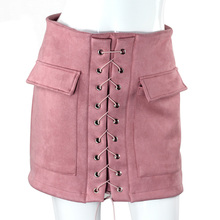 Lace-up Mini Pencil Skirt