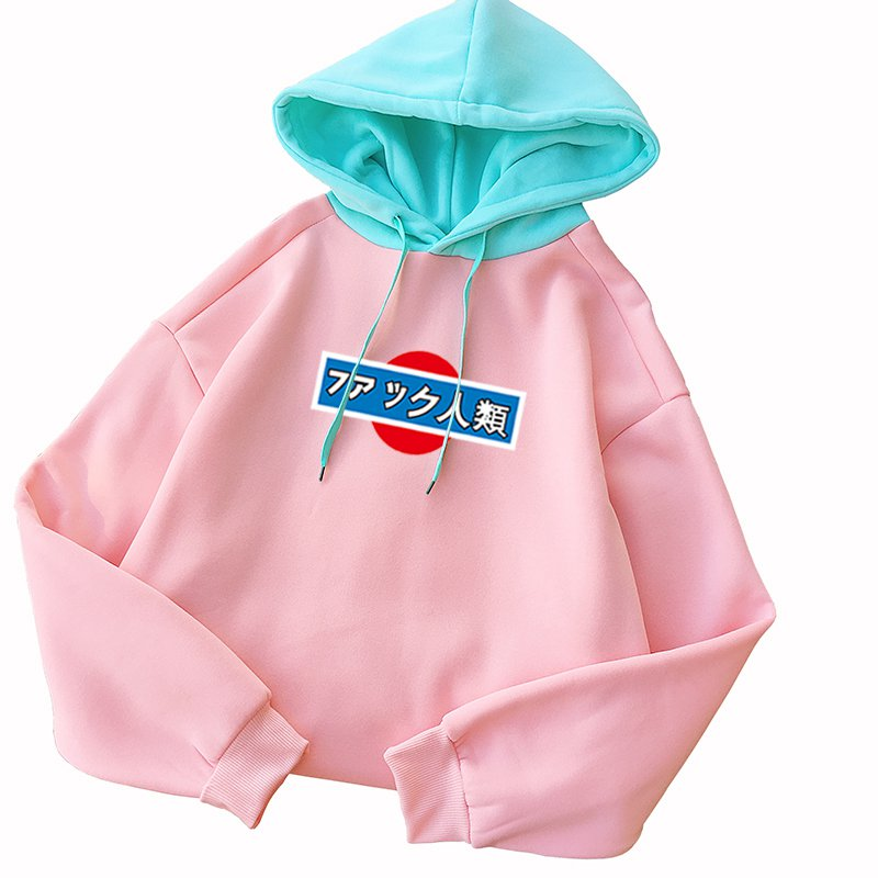 Autumn Winter Sweatshirt Women Kpop Spell Color Hoodies Long Sleeve Casual Harajuku Japanese Letter Print Fleece Hooded Pullover