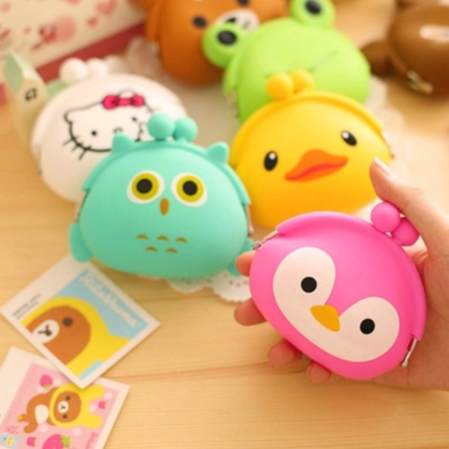 Korean Candy Colored Girls Coin Bags Women Key Wallets Cute Cartoon Silicone Mini Coin Purse Children Kids Gifts FH-010
