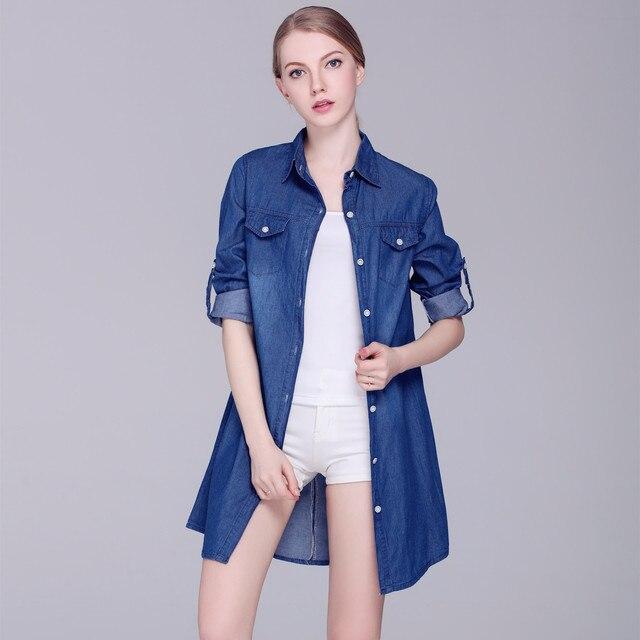 aff52cad00 2018 New European Spring Ladies Denim Shirt Wholesale Female Casual Blouses  Blusa Feminino Women Long Blouses