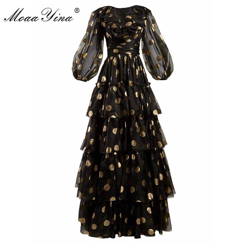 MoaaYina Fashion Designer Runway dress Spring Summer Women Dress V  neck Dot Mesh Black Elegant Party Ruffles DressesDresses   -