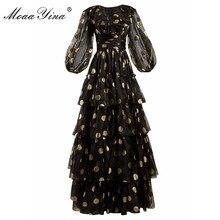 MoaaYina robe à volants pour femme, robe stylée, col v, maille à pois, noir, soirée élégante, printemps été