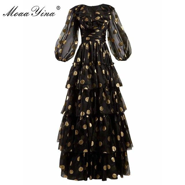 MoaaYina الأزياء مصمم المدرج اللباس الربيع الصيف النساء اللباس الخامس الرقبة نقطة شبكة الأسود أنيقة حزب الكشكشة فساتين