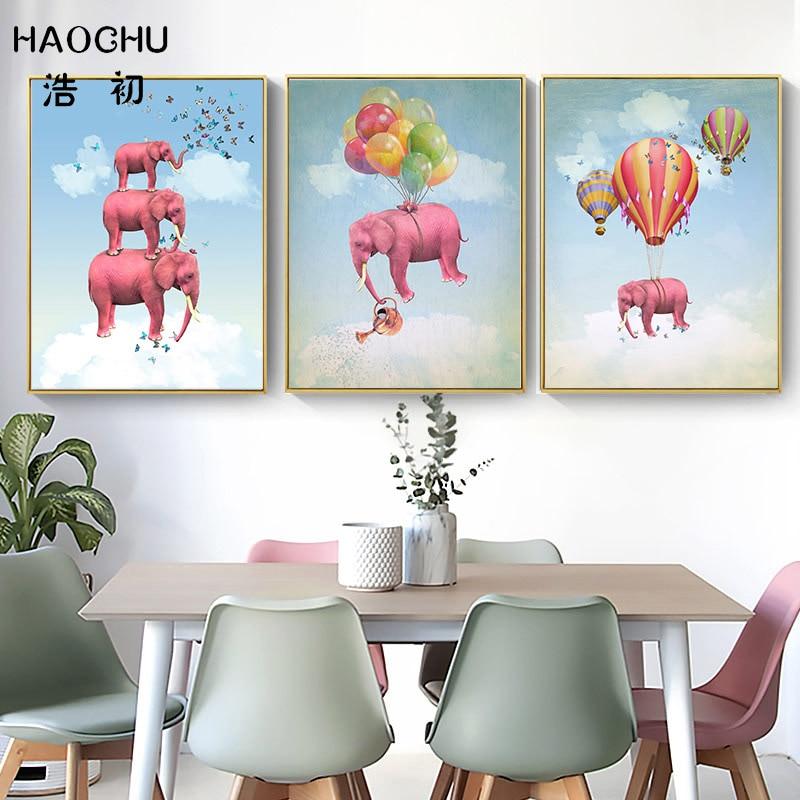 HAOCHU Nordi Pink Elephant Butterfly Cartoon Canvas Painting Hot Air Balloon Art Print Poster Children Room Mural Decor Picture african elephant