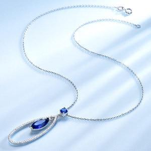 Image 3 - UMCHO Подвеска из настоящего серебра 925 пробы с голубым сапфиром, ожерелье с подвеской, ювелирные изделия для женщин с цепочкой, Новинка