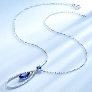 Image 3 - UMCHO Colgante de Plata de Ley 925 con gemas de zafiro azul, joyería fina con cadena, para mujeres