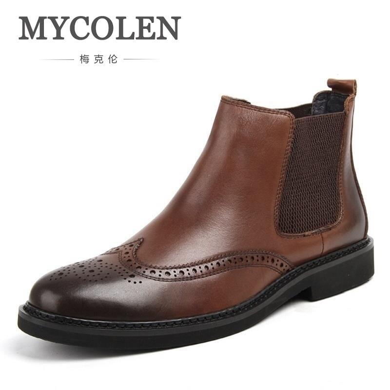 MYCOLEN High Quality Men Boots Ankle Men Fashion Slip on Snow Boots Carved Design Men Leather Boots Coturnos Masculino Militar