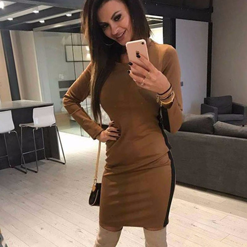 DeRuiLaDy 2018 Women Sexy O Neck Long Sleeve Mini Dress Autumn Womens Bodycon Nightclub Party Short Dresses Winter Casual Dress
