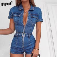 Gagaopt 2019 Denim Jumpsuit Women Short Sleeve Turn Down Collar Playsuits Shorts Jeans Rompers with Belt Streetwear