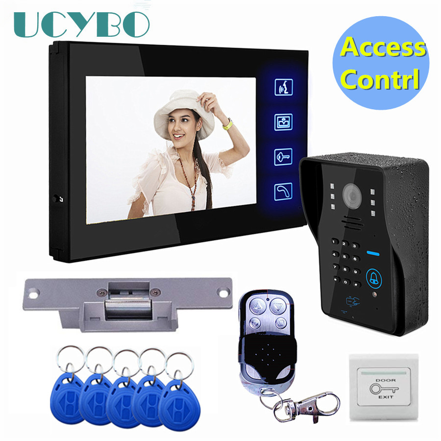 "7/"" Wired Video Doorphone Intercom Kit+1 RFID Access Outdoor Camera+Lock+Remote"