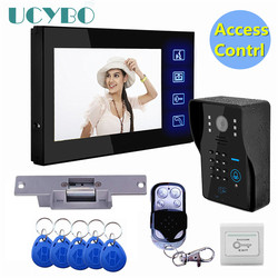 Sistema de intercomunicador de teléfono con puerta de vídeo Lcd de 7 kit de control de acceso RFID CÁMARA DE exterior bloqueo eléctrico + inalámbrico control remoto
