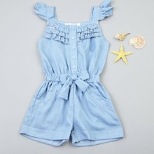 2019  Kids girls clothes Rompers Denim Blue Cotton Washed Jeans Sleeveless Bow Jumpsuits 0-5Year Fashion Children's Sets цены онлайн
