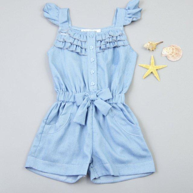2019 Trẻ Em bé gái quần áo Rompers Xanh Denim Cotton Giặt Quần Áo Nơ Áo Liền Quần 0-5Year Thời Trang Trẻ Em Bộ