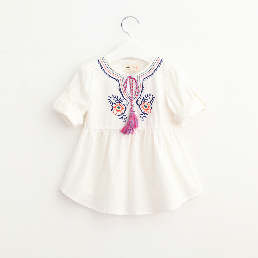 Girls Floral Embroidered Cotton Dress Ruffles White Dress Spring Summer Fall Cute Baby Clothing