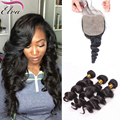 Brazilian Virgin Hair With Silk Base Closure 3 Human Hair Bundles With Closure Loose Wave Bundles With Free Middle Part Closure