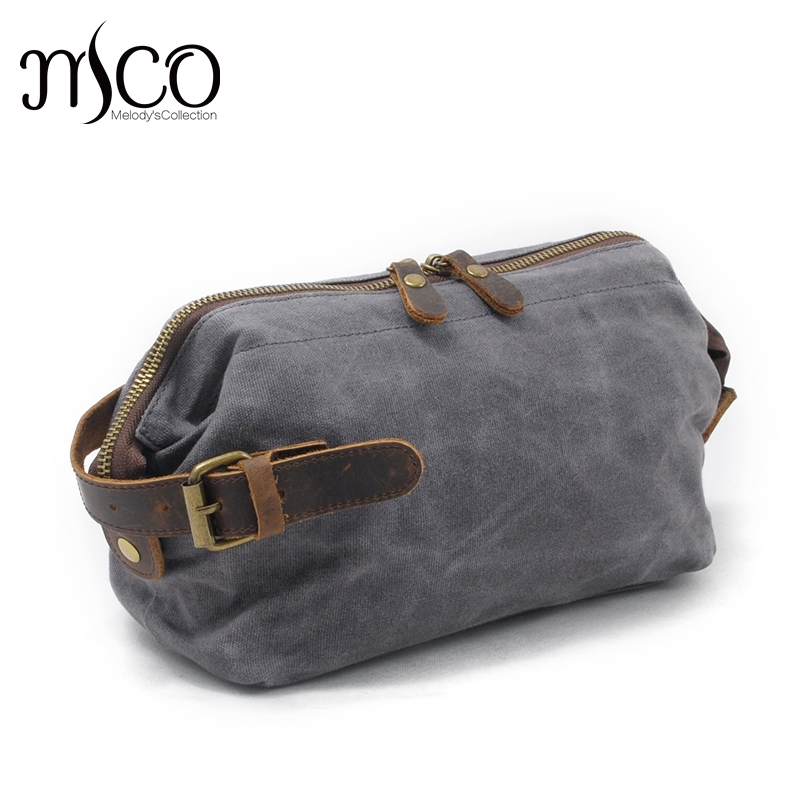 Men hand caught oil wax canvas toiletry bags restoring ancient ways Wrist Wrap Purses On Carry Travel Storage Bag Male Cluthes