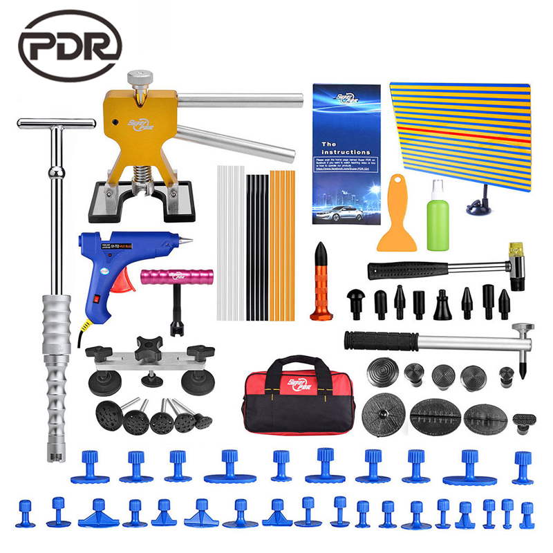 PDR Tools Kit Reflector Board Dent Puller Glue Tabs Tap Down Tools For Dent Removal Paintless Dent Repair Hail Damage Repair whdz 64pcs pdr tool dent lifter paintless dent hail removal repair tools glue pdr tool kit pdr pro tabs tap down line board