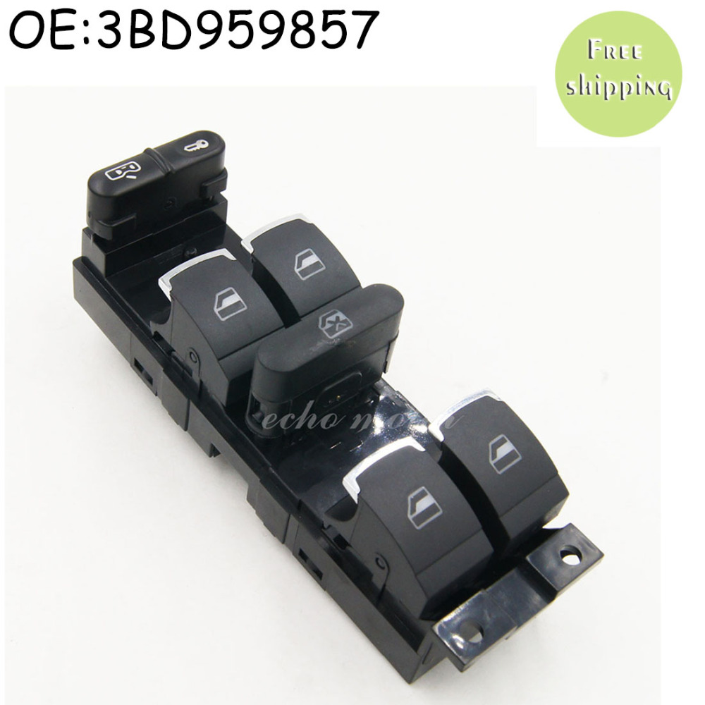 New Chrome Master Window Controller Switch For VW Jetta Golf GTI MK4 Passat B5 Driver Side 3BD959857 3BD 959 857 1998-2005