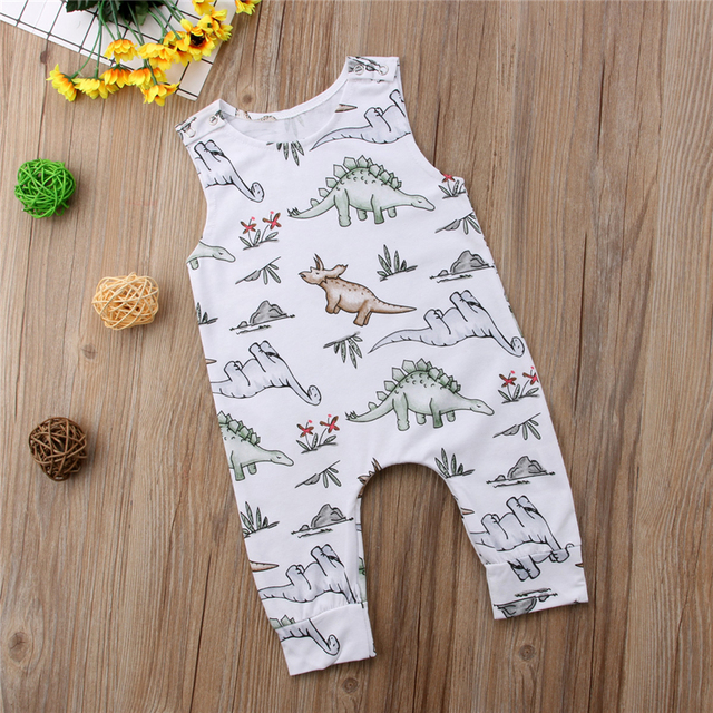 Emmababy Newborn Baby Boy Girl cotton sleeveless Rompers bebe boys summer Jumpsuit Dinosaur Romper Clothes Outfits 6