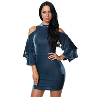 Olrain Europe And The United States Fashion Spring And Summer Women Velvet Dress Strapless Wrinkles Bell