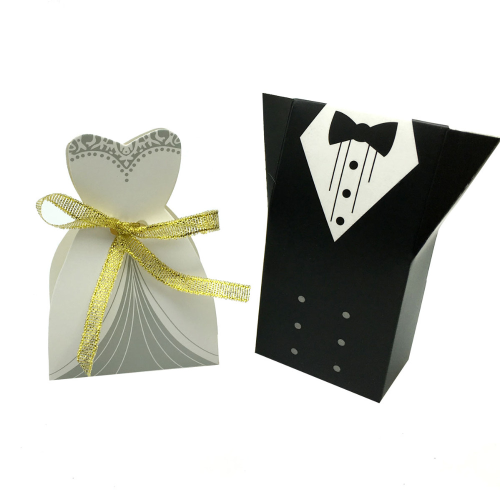 100pcs/lot Elegant Candy Box For Wedding Sweet Bag Wedding Favors ...