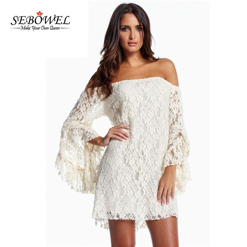 e757212903b0 SEBOWEL Sexy White/Black Lace Dress Long Sleeve Party Dress Women ...
