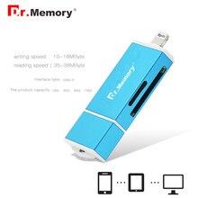 Dr. памяти 3 в 1 Lightning/Micro USB/USB 2.0 Устройство чтения карт памяти для iPhone 6 S 7 Plus из металла Для Android OTG Micro SD Card Reader