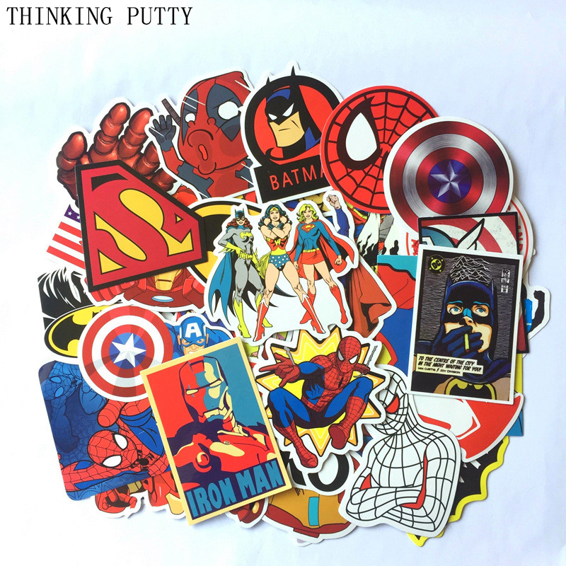 50Pcs/Lot Marvel Anime Classic Stickers Toy For Laptop Skateboard Luggage Decal Decor Funny Iron Man Spiderman Stickers For Kids