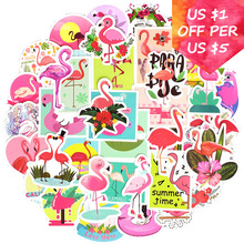 50Pcs Flamingos Stickers For Suitcase Skateboard Laptop Cell Phone Motorcycle Bicycle Car Accessories Mixed Pink