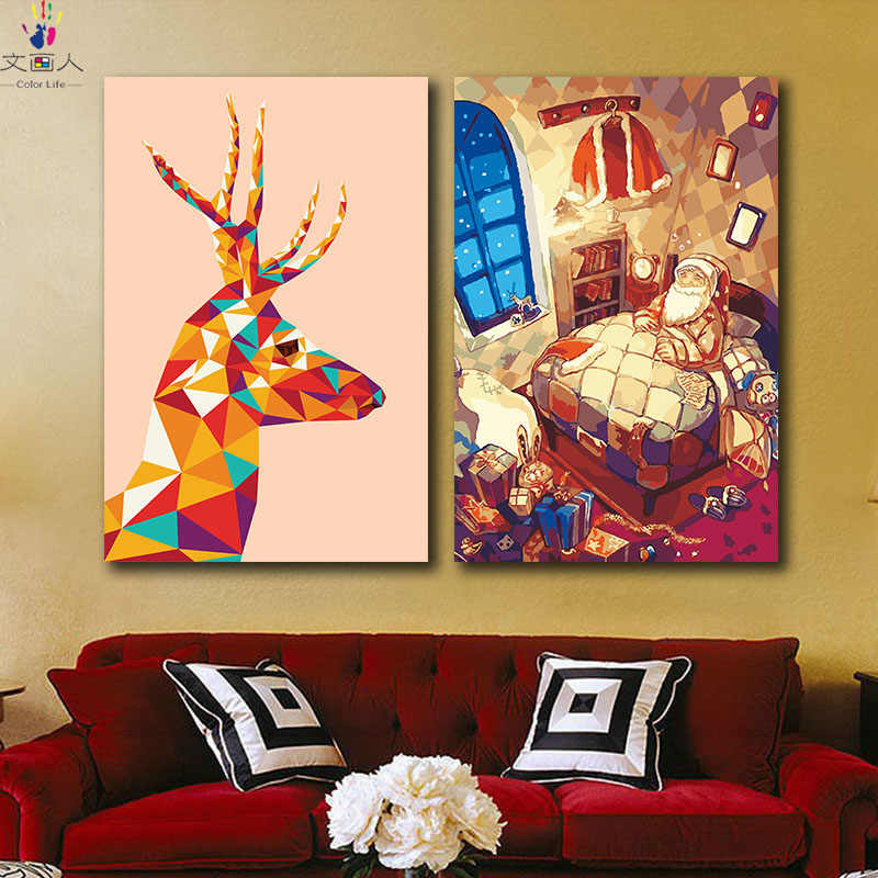 DIY coloring picture paint by numbers with colors Christmas new year gifts Santa Claus pictures painting by numbers diy frame