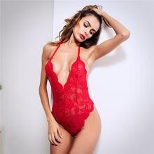 Сексуальный глубокий v образный вырез цельный кружевной боди