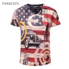 2016 новое поступление 3D футболка Для мужчин Летняя мода американский флаг печатных Для мужчин Slim Fit V Средства ухода за кожей шеи футболка бренд Для мужчин хлопок смешные футболки