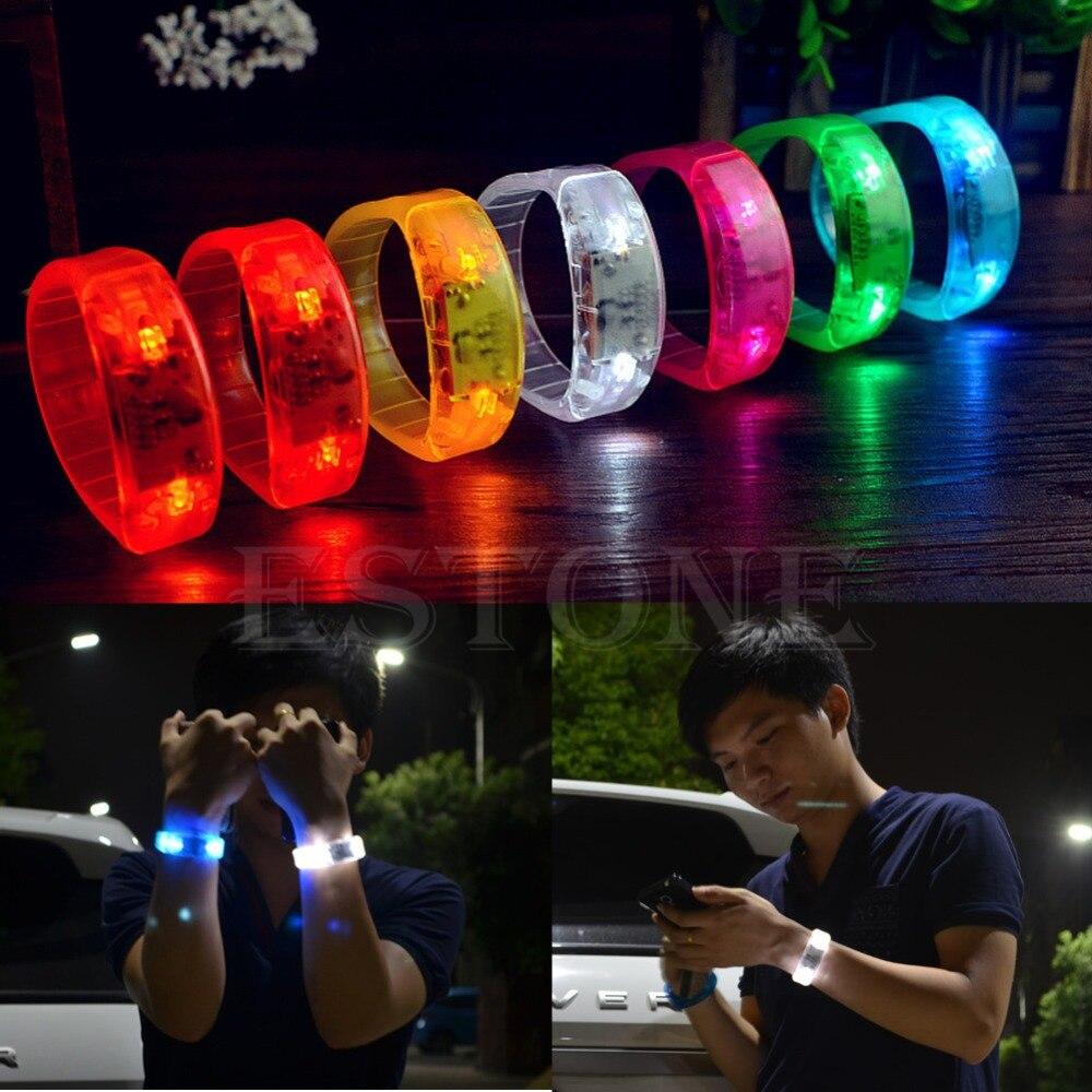 M89CFashion Party Voice Activated LED Light Glows Bracelet Light Up Flashing Bangles