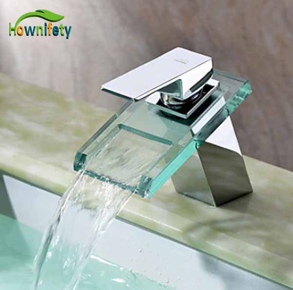 Chorme Polished Bathroom Waterfall Vessel Sink Faucet Deck Mount Mixer Tap With Glass