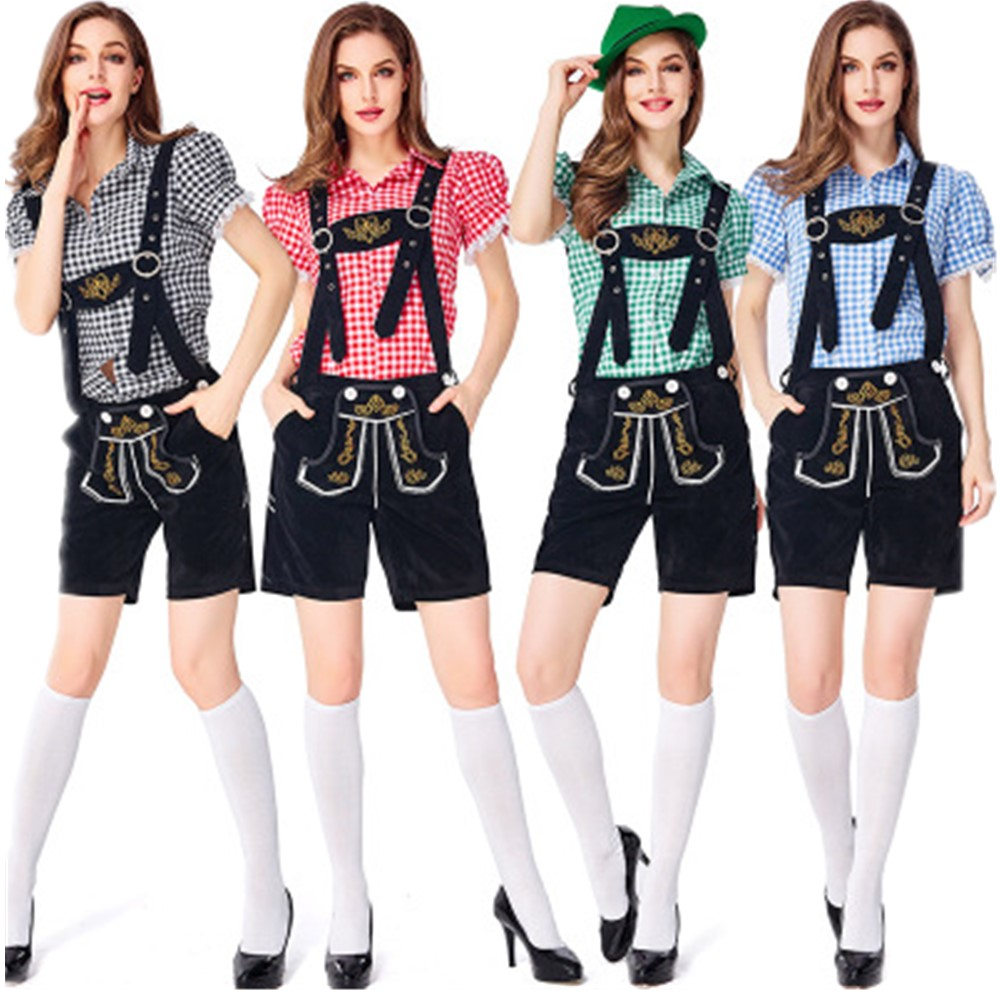 Women Lederhosen Leather Short Ladies Oktoberfest Costume Beer Maid Outfit Brown