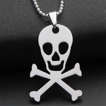 simple men stainless steel skeleton skull pendant necklace silver color sweater necklaces pendants women choker fashion jewelry