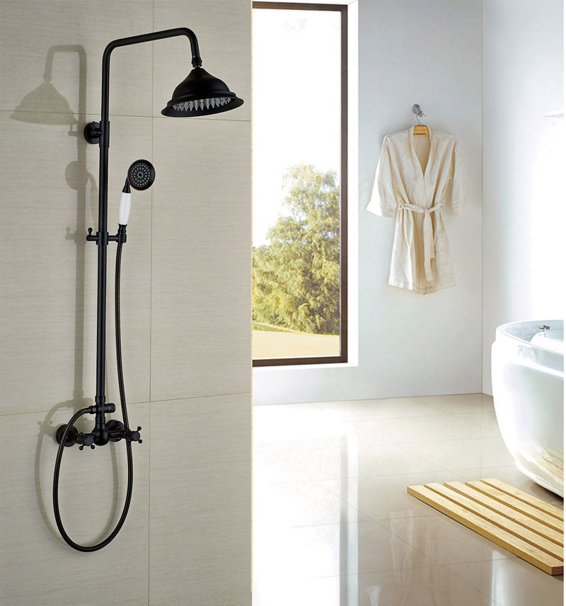 Oil Rubbed Bronze Shower Faucet With Ceramic Hand Shower Bath Rainfall Shower Wall Mounted