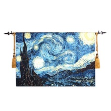 140x 86cm home textile world famous painting Van gogh starry sky medieval jacquard fabric wall hanging exquisite tapestry ST-16