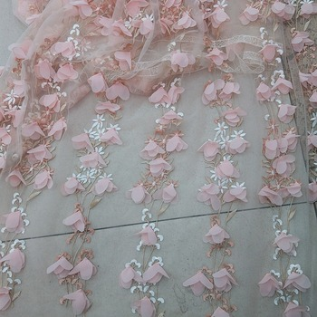 French fashion 3D applique peach MYJY1688 African embroidery lace, Nigeria's best selling wedding dress fabric