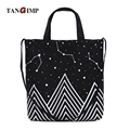 TANGIMP Canvas Starry Sky Eco Handbag Shopping Shoulder Bags Tote Boat Women Daily Ladies Female Totos Bolsa Printed Beach Bags